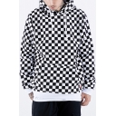 Hot Stylish Black and White Checkboard Printed Long Sleeve Loose Fit Cotton Hoodie