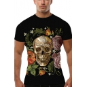 Awesome 3D Floral Skull Printed Crewneck Short Sleeve Black Fitted T-Shirt
