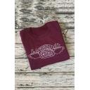 Hot Sale Long Sleeve Round Neck Letter Central Park Printed Burgundy Sweatshirt