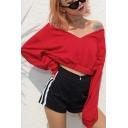 Chic V Neck Long Sleeve Plain Elastic Hem Cropped Red Sweatshirt