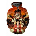 One Piece Cool 3D Comic Printed Sport Casual Pullover Drawstring Hoodie