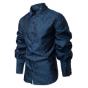 Mens New Stylish Unique Lattic Plaid Printed Long Sleeve Casual Fitted Button-Up Shirt