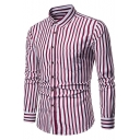 Mens Fashion Vertical Stripe Printed Long Sleeve One Pocket Wrinkle-Free Fitted Button-Up Shirt