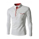 Mens New Stylish Polka-Dot Printed Long Sleeve Four-Button Casual Pullover Shirt