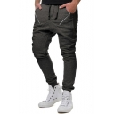 Mens Fashion Zip-Embellished Drawstring Waist Cotton Skinny Pencil Pants Sweatpants