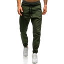 New Trendy Mens Drawstring Waist Simple Plain Elsticized Cuff Casual Sporty Track Pants
