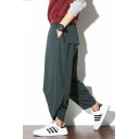 Men's Cool Simple Plain Loose Casual Carrot-Fit Linen Bloomers Harem Pants