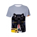 French Dog 3D Pattern Loose Casual Short Sleeve T-Shirt