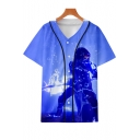 Popular 3D Game Figure Printed V-Neck Short Sleeve Unisex Casual Button-Down Baseball Shirt