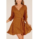 Vintage 3/4 Length Sleeve Polka Dot Printed V Neck Mini Wrap Dress