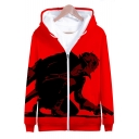 Popular Video Game Character 3D Print Full-Zip Front Casual Relaxed Hoodie