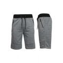 Mens New Fashion Zip-Pocket Drawstring Waist Sport Casual Loose Sweat Shorts