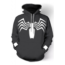 New Stylish 3D Printing Long Sleeve Comic Unisex Pullover Black Hoodie