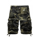 Summer Hot Fashion Camo Printed Ribbon Detail Mens Cotton Military Style Cargo Shorts