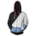 Gin Tama Gintoki Sakata New Fashion Comic Cosplay Zip-Front Casual Black and White Hoodie