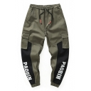 New Stylish Fashion Colorblock Simple Letter Print Drawstring-Waist Cotton Loose Black and Green Cargo Pants for Men