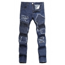 Mens New Stylish Patchwork Regular Fit Shredded Denim Jeans