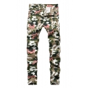 Stylish Flag Camo Printed Stretch Fitted Army Green Jeans for Men