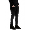 Mens Street Fashion Solid Color Slim Fit Black Jeans