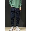 Mens Fashion Large Pocket Side Loose Fit Cargo Jeans