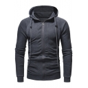 Men's New Trendy Simple Plain Long Sleeve Slim Fit Zip Up Drawstring Hoodie
