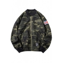 Army Green Camouflage Long Sleeve Stand Collar Flag Patchwork Zip Up Bomber Jacket