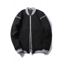 Guys Retro Stand Collar Long Sleeve Slim Zip Up Front Flap Pockets Jacket