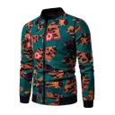Green Slim-Fit Long Sleeve Stand Collar Floral Print Zip Placket Jackets