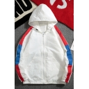 Fashion Colorblock Long Sleeve Elastic Hem Zip Up Casual Hooded Jacket for Guys