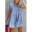 Summer Basic Solid Round Neck Flare Sleeve Mini A-Line Cake Dress