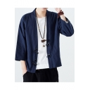 Chinese Style Loose Plain Three-Quarter Sleeve Toggle-Button Linen Cardigan Kimono Coat for Men