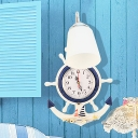 Anchor Shape Wall Lamp with Clock Nautical Style Kids Room Wooden 1 Light Sconce Light in White