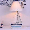 Fabric Sailboat Standing Table Light Nautical Style Boys Room 1 Light Table Lamp in White