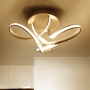 White Twisted Ceiling Flush Mount with Metallic Canopy Designer Style LED Semi Flush Mount