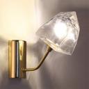 Gold Finish Gem Shade Sconce Light Nordic Style Clear Glass Single Head Wall Mount Fixture