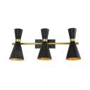 Textured Black Horn Shade Wall Mount Light Simple Modern 6 Lights Sconce Light for Living Room