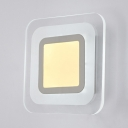 Square Disc LED Wall Mount Fixture White Acrylic Shade Sconce Lighting for Hallway Corridor