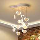 Pink/White Loving Heart Hanging Ceiling Lamp Acrylic 15 Lights Pendant Lamp for Girls Bedroom