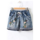 Retro Floral Embroidered Distressed Ripped Detail Drawstring Waist Loose Denim Shorts
