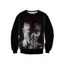 Popular American Rapper Figure Printed Round Neck Long Sleeve Loose Fit Black Sweatshirt