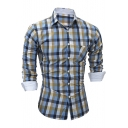 Men's Fashion Colorful Plaid Printed Long Sleeve Fitted Button-Front Shirt