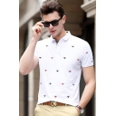 Summer Trendy Allover Spider Print Short Sleeve Men's Classic-Fit Polo