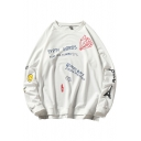 Hip Hop Fashion Cartoon Letter YES Printed Loose Fitted Long Sleeve Pullover Sweatshirt