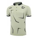 Mens Summer Fashion Printed Contrast Hem Short Sleeve Cotton Slim Polo Shirt