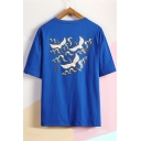 Summer New Trendy Fashion Crane Printed Loose Casual Round Neck T-Shirt