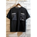 Summer Cool Unique Letter PERSEU ERANCE Military Flap Pocket Embellished Casual Loose T-Shirt