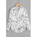 Simple White V-Neck Fashion Geometric Printed Long Sleeve Dipped Hem Casual Button Shirt