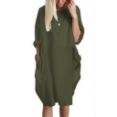Womens Summer Comfort Loose Simple Plain Round Neck Long Sleeve Midi T-Shirt Dress with Pocket