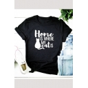 Funny Letter HOME IS WHERE MY CAT IS Street Fashion Short Sleeve Black T-Shirt