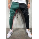 Guys Cool Stylish Colorblock Drawstring Waist Zip-Pocket Skinny Fit Pencil Pants